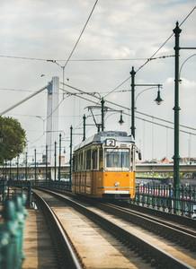BUDAPEST HUNGARY   APRIL 25 2017 Historical yellow tram