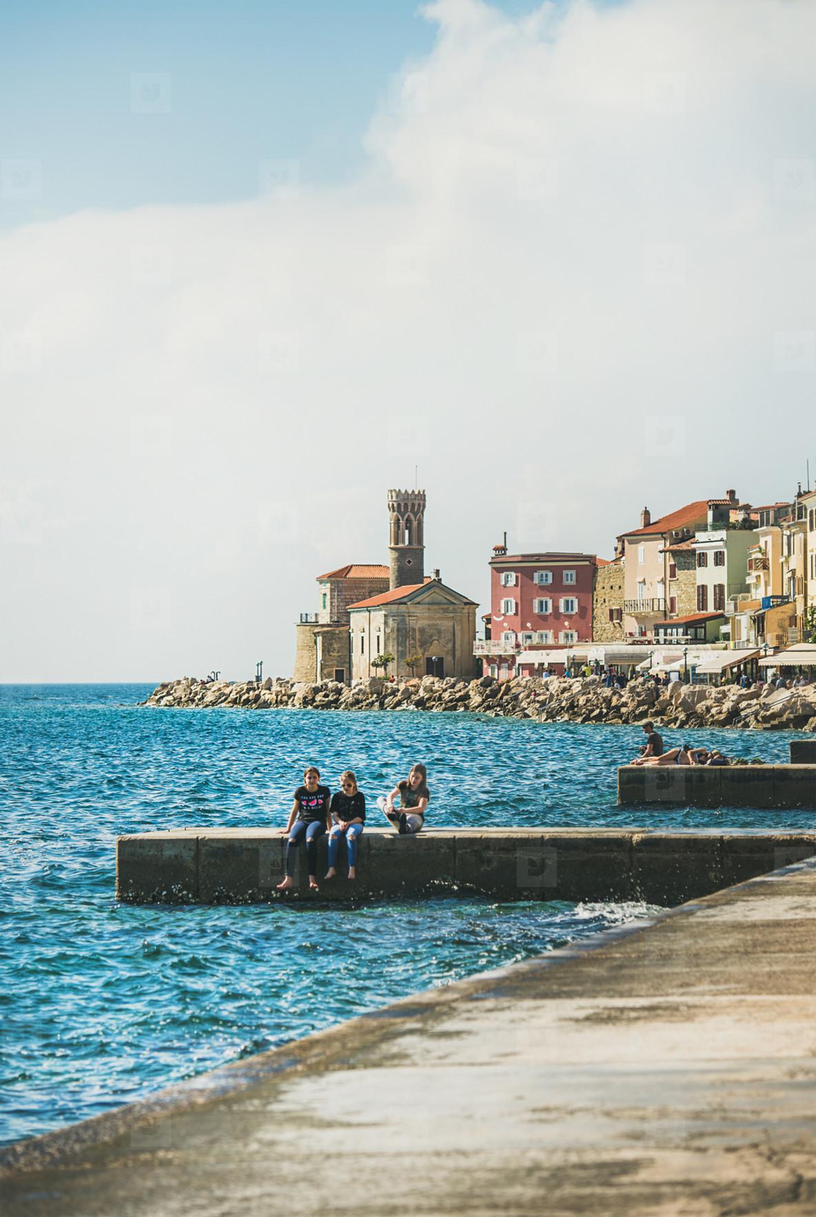 PIRAN  SLOVENIA   MAY 13  2017 View over Adriatic sea embankment