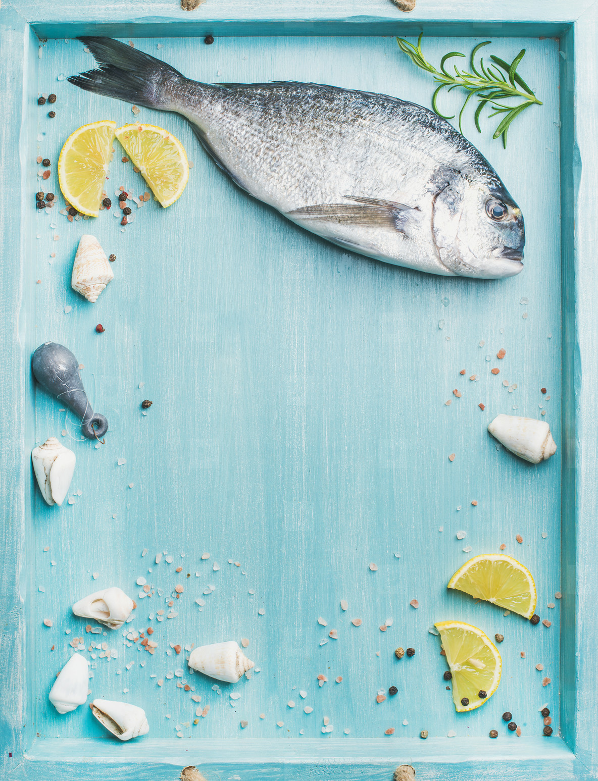 Fresh Sea bream raw uncooked fish with seasoning  copy space