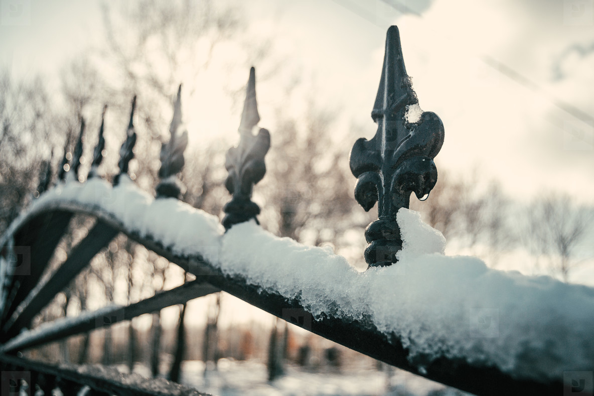 detail of a snow forge gate