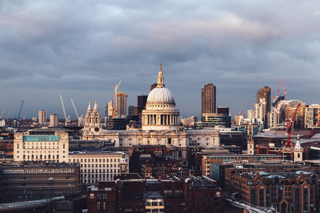 St Pauls Cathderal dome on London skyline on cloudy day