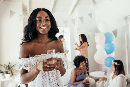 Female friends at baby shower party