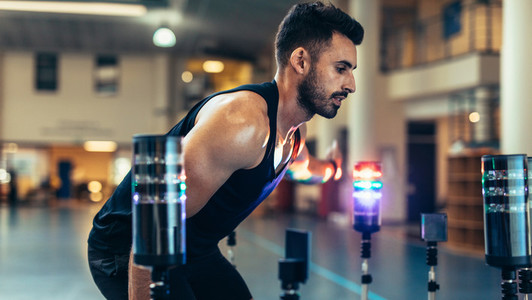 Athlete using a visual stimulus system