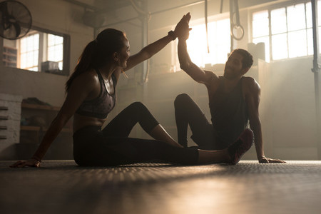Healthy people after successful exercising session