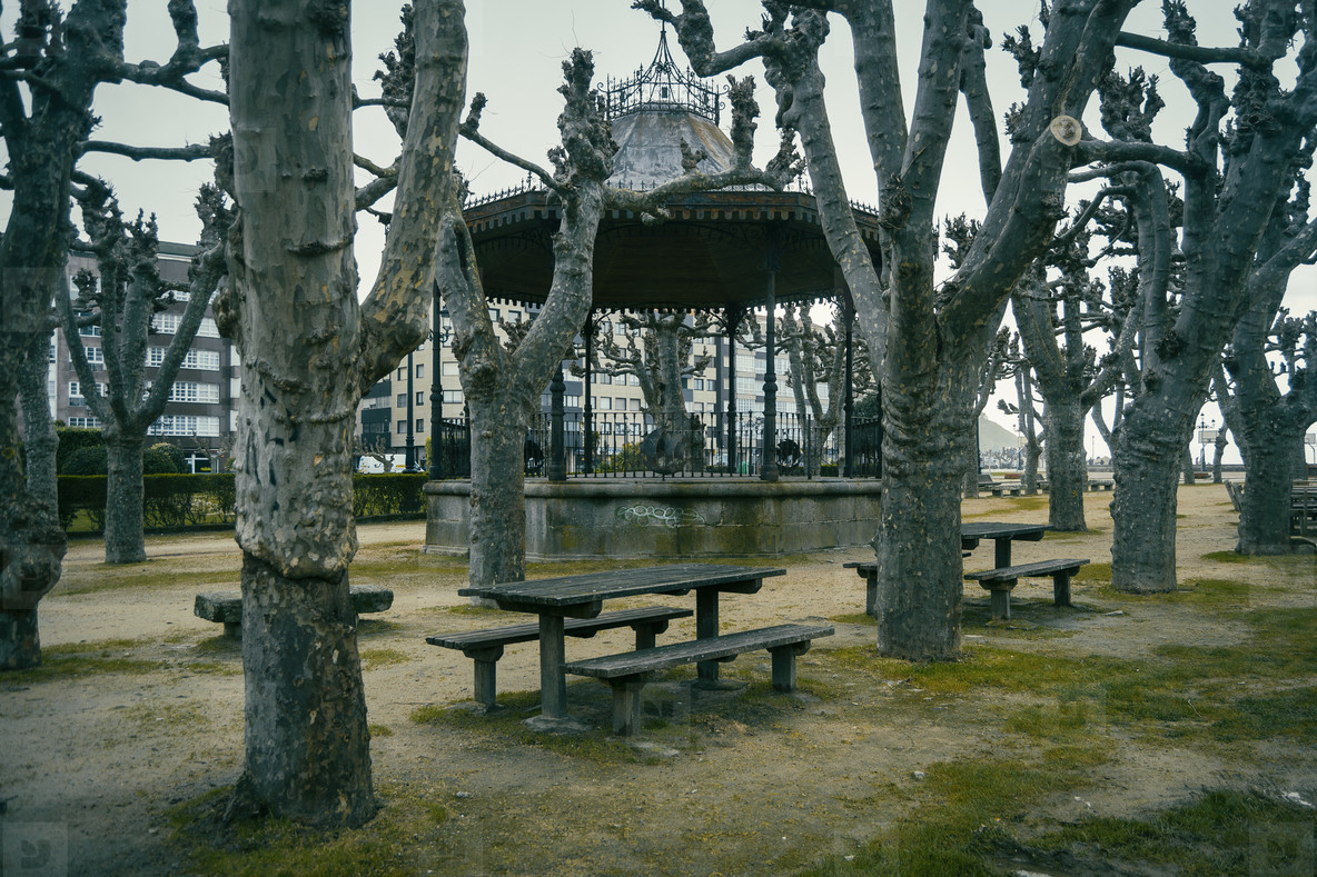 Park with picnic in Baiona  Galicia Spain