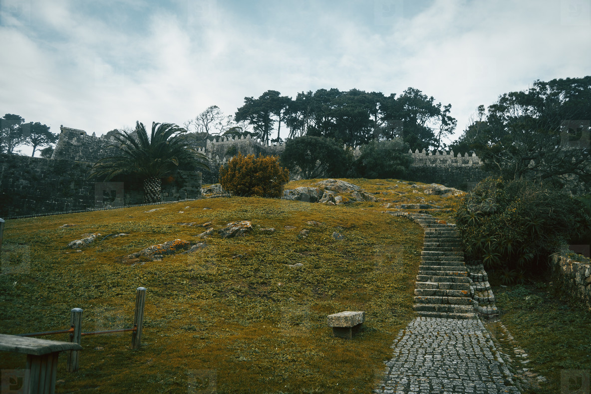 Stone path and stairs in Baiona  Galicia Spain