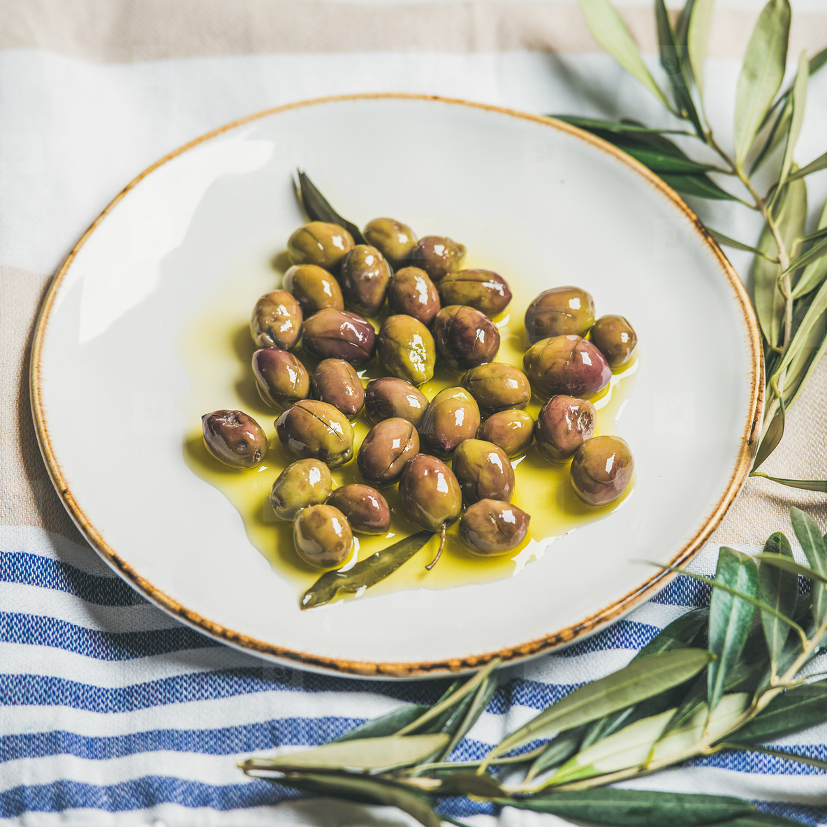 Pickled green Mediterranean olives and olive tree branch on towel