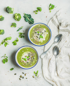 Spring broccoli cream soup with mint and coconut cream