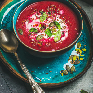 Beetroot soup with mint  chia  flax  pumpkin seeds  square crop