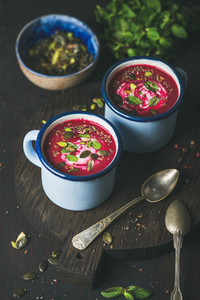 Detox vegetarian beetroot soup with mint  pistachio and seeds