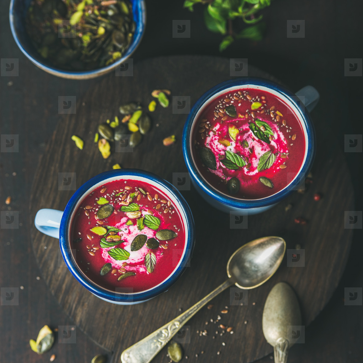 Beetroot soup with mint  pistachio  chia  flax  pumpkin seeds