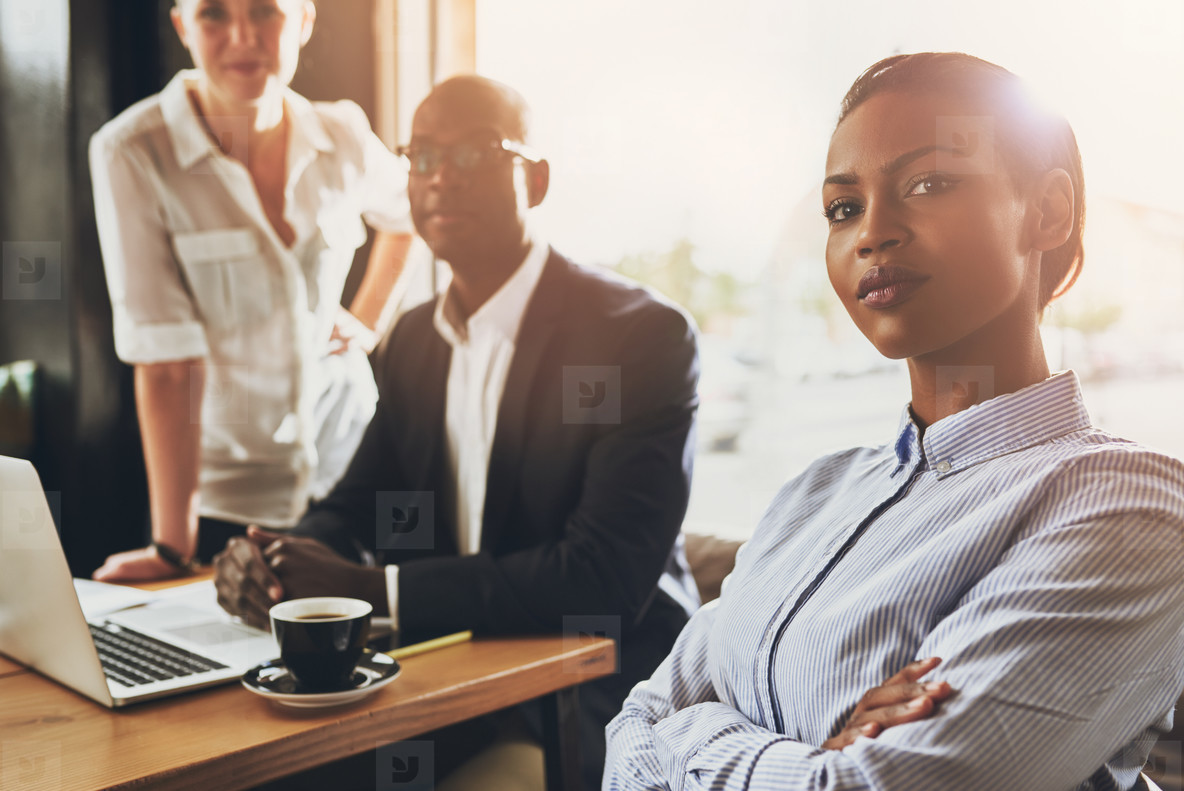 Confident young black business woman