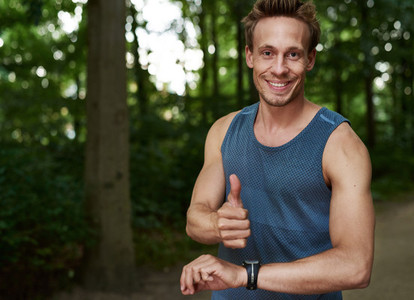Fit Guy Showing Thumbs up at the Park