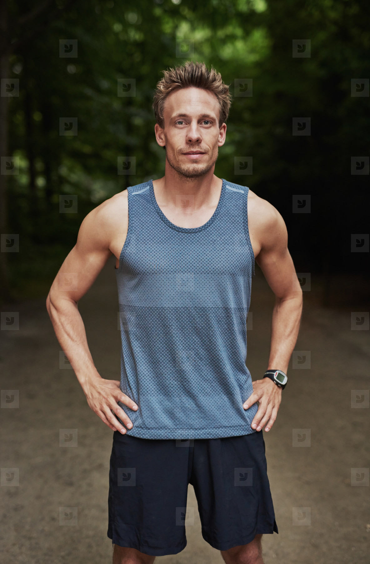 Athletic muscular man in sportswear