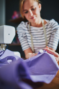 Creative woman sewing