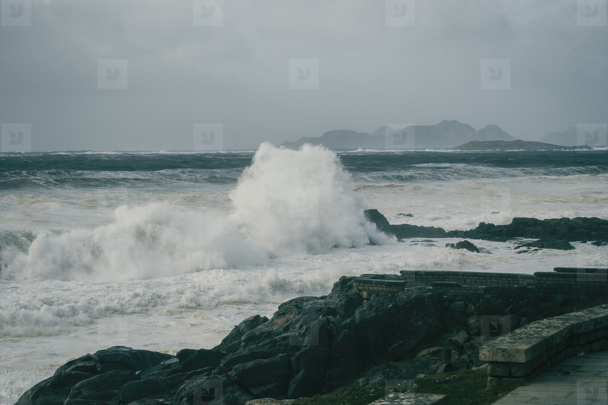 Waves breaking on rock on the coast of Baiona  Galicia Spain