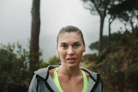 Closeup of a woman runner