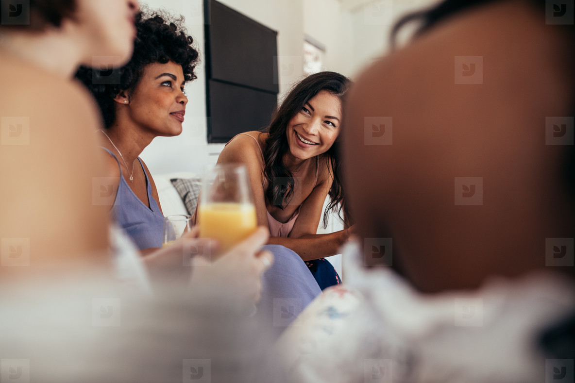 Group of multiracial friends at a party