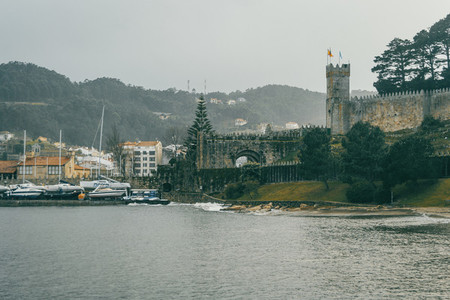 Harbor with boats and views of the castle of baiona