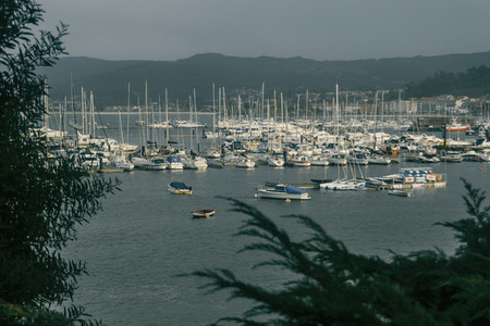 Harbor with boats in baiona galicia spain