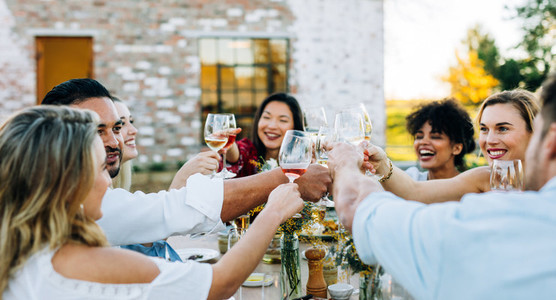 Group of people toasting wine at party