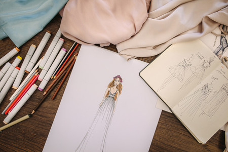 Closeup of a dress designers table