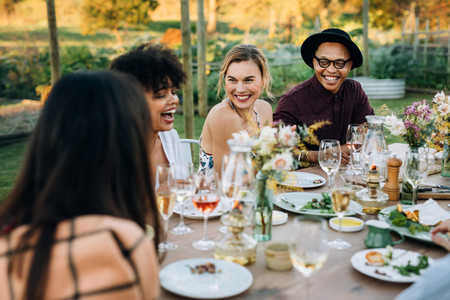 Group of friends enjoying outdoor party