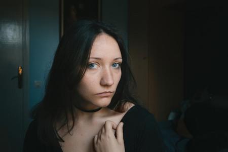 blue eyed girl looking at camera