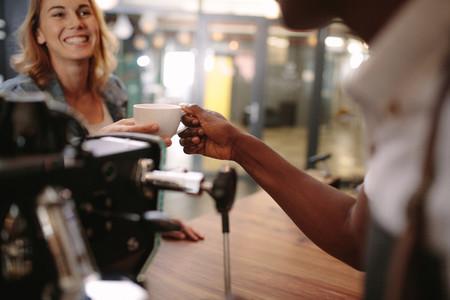 Customer inside a coffee shop