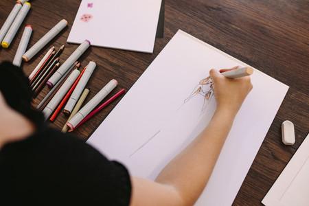 Fashion designer at work in her studio