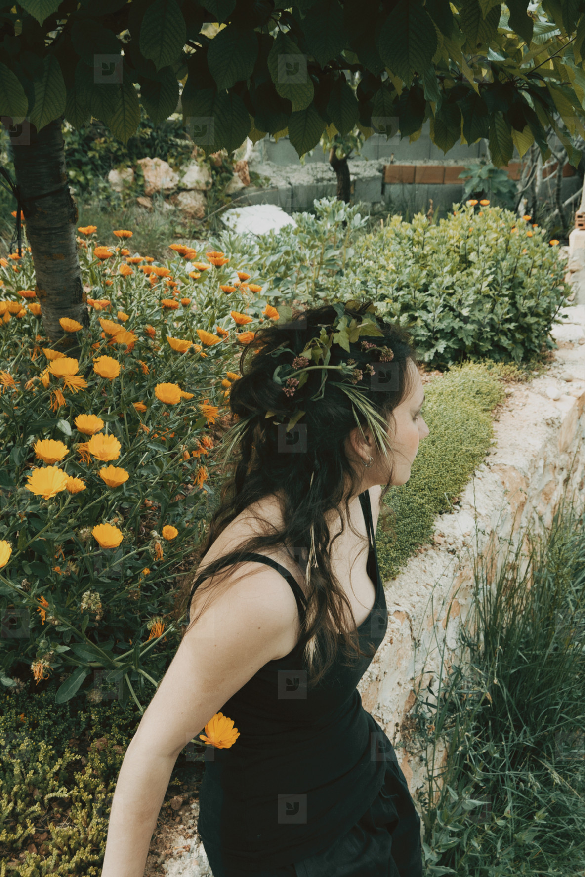 forest elf with plants in her hair  natural make up