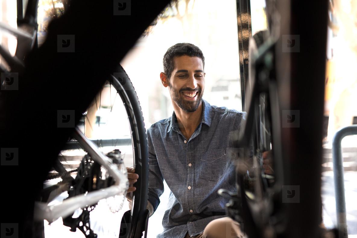 Mechanic in a cycle repair shop