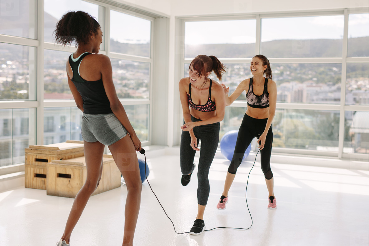 Diverse girls having fun during workout session
