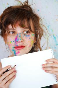 Young woman in an art class