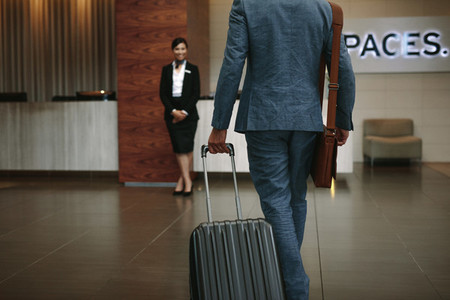 Businessman arriving to his hotel