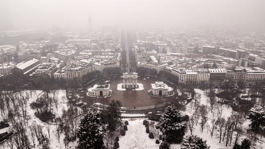 Aerial View Winter Milan