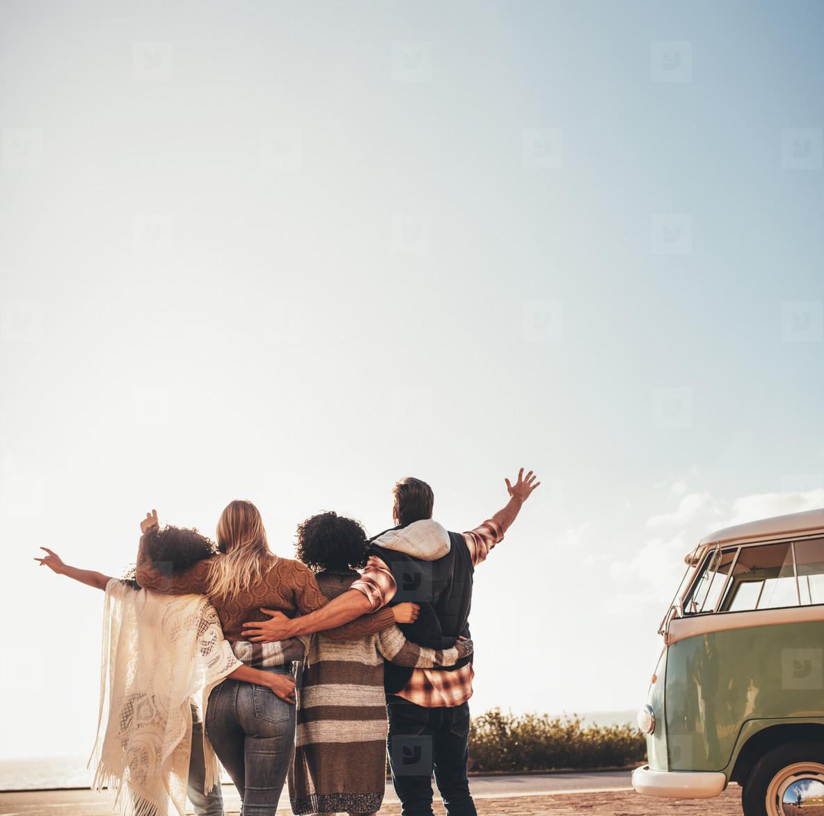 People enjoying during their road trip
