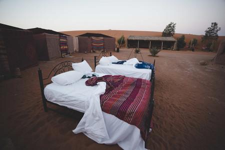Bed on sand Desert camping