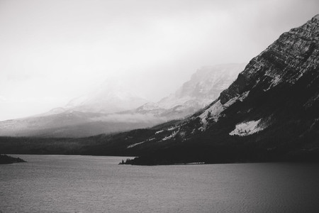 Lake and Mountain in wintertime