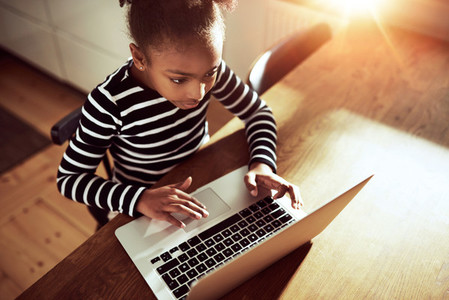 Cute young girl surfing the web