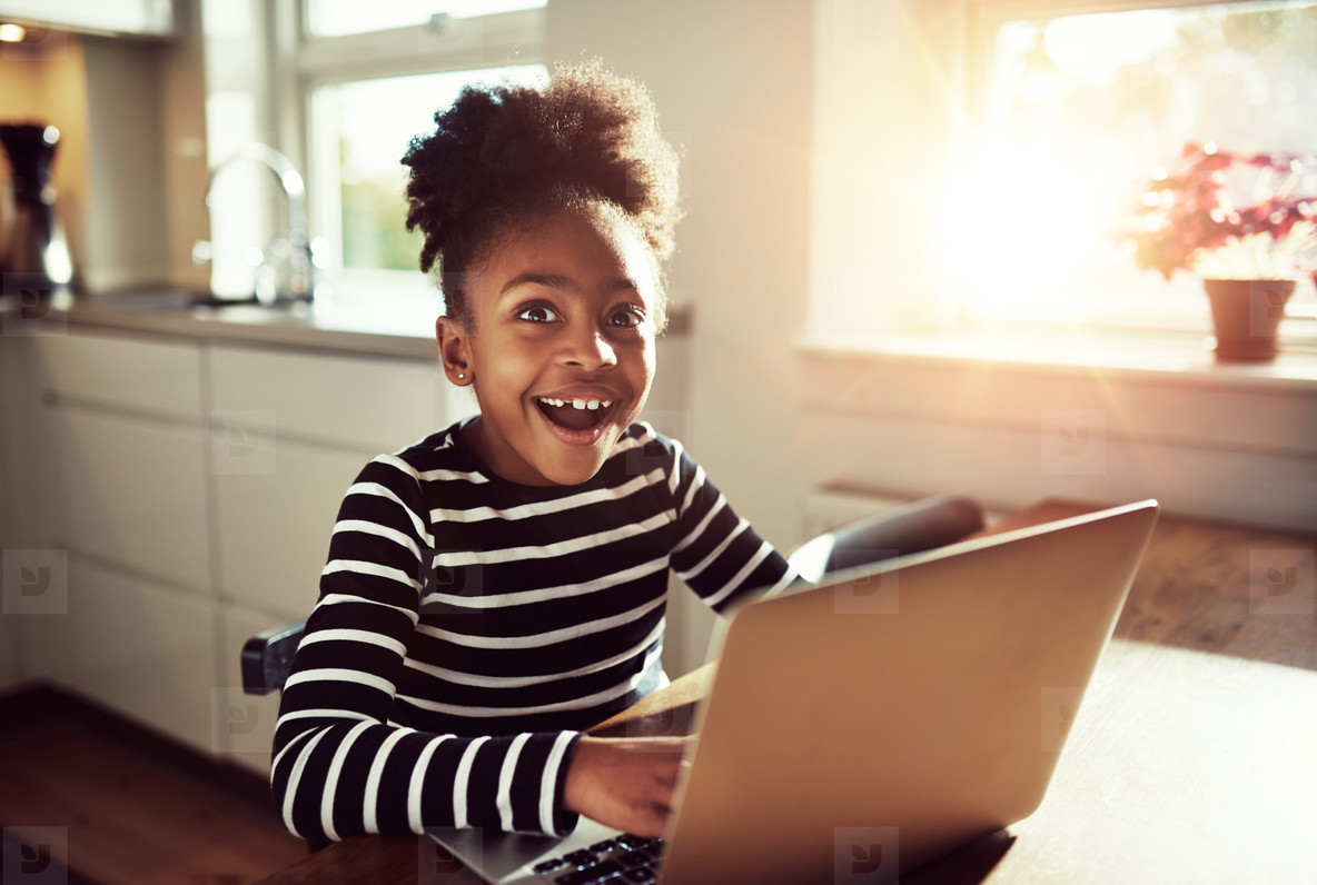 Black girl with a joyful expression