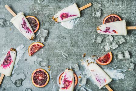 Orange  yogurt  granola popsicles on ice cubes  copy space