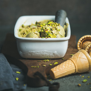 Homemade pistachio ice cream in ceramic mold  square crop