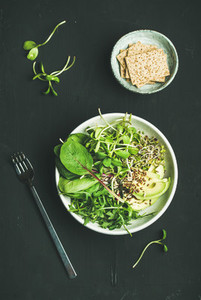 Breakfast with spinach  arugula  avocado  seeds and sprouts  top view