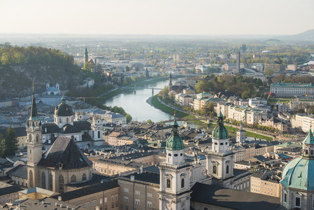Scenic view over old town center of Salzburg  Austria
