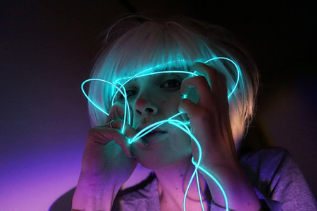 Portrait with neon lights
