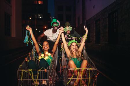 St Patricks day celebration on city street at night