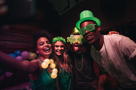 Selfie of St Patricks day celebration in nightclub