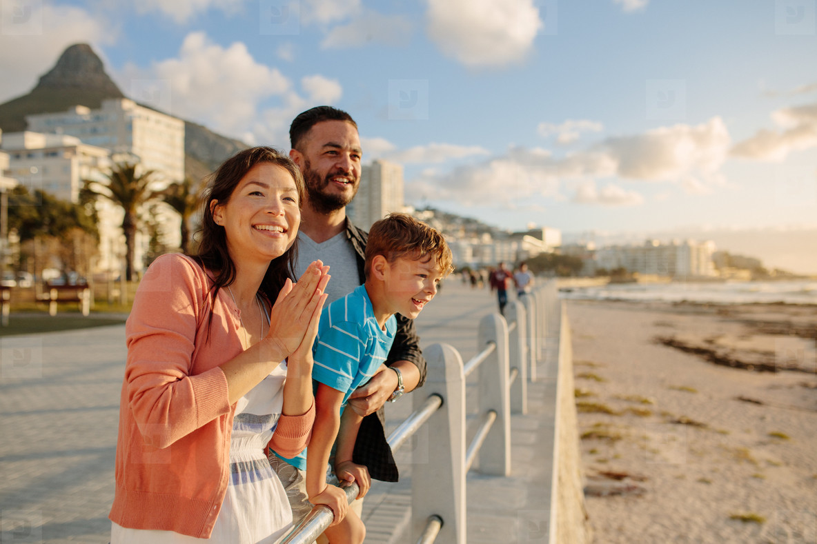 Family on a day out near the sea