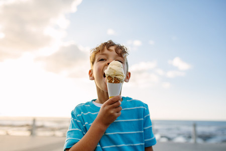 Boy eating an ice cream